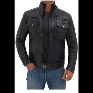 💼 Decrum real leather black winter jacket new